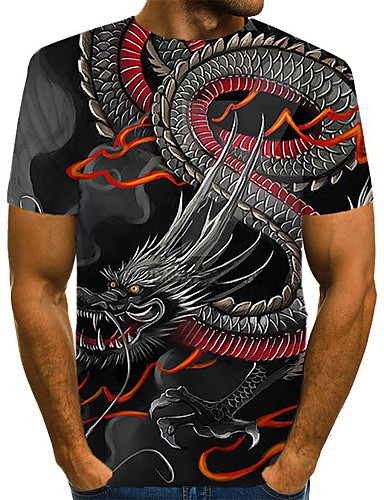 Ανδρικά Μέγεθος EU / US T-shirt Κλαμπ Κομψό στυλ street / Εξωγκωμένος 3D / Ζώο / Tribal Στρογγυλή Λαιμόκοψη Στάμπα Μαύρο / Κοντομάνικο