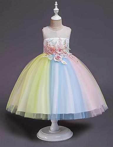 Παιδιά Νήπιο Κοριτσίστικα Ενεργό Γλυκός Ουράνιο Τόξο Patchwork Patchwork Αμάνικο Ως το Γόνατο Φόρεμα Ανθισμένο Ροζ