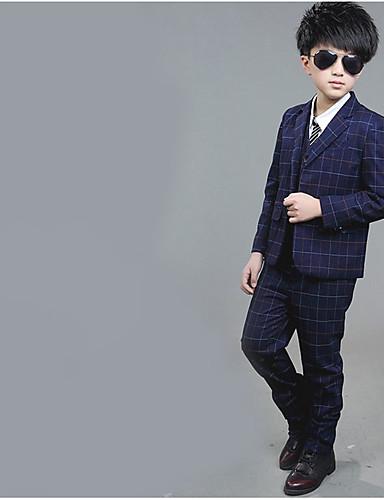 Djeca Dječaci Osnovni Jednobojni Dugih rukava Regularna Normalne dužine Pamuk Komplet odjeće Plava