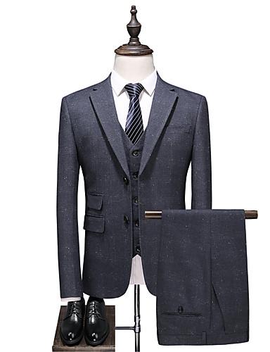 Cinzento Checkered Padrão Poliéster Terno - Notch / Paletó Comum 2 Botões / Suits