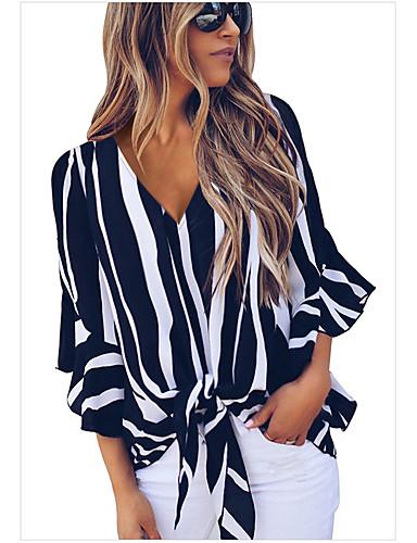 billige Skjorter til damer-V-hals Skjorte Dame - Stripet, Blondér Grunnleggende Rød