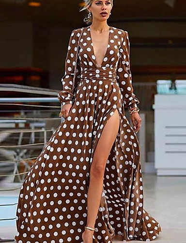 levne Maxi šaty-Dámské Cikánský Sofistikované Swing Šaty - Puntíky Geometrický, Tisk Maxi Hluboké V Flamingos orangutan Rose