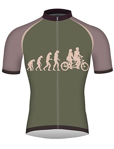 povoljno Odjeća za vožnju biciklom-21Grams Evolucija Muškarci Kratkih rukava Biciklistička majica - Forest Green Bicikl Biciklistička majica Majice Prozračnost Quick dry Reflektirajuće trake Sportski 100% poliester Brdski biciklizam