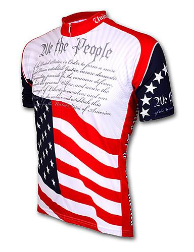 povoljno Odjeća za vožnju biciklom-21Grams American / USA Državne zastave Muškarci Kratkih rukava Biciklistička majica - Red+Blue Bicikl Biciklistička majica Majice Prozračnost Ovlaživanje Quick dry Sportski Terilen Brdski biciklizam