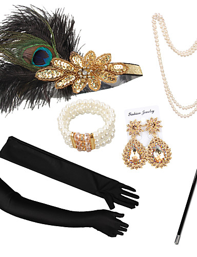 cheap Costumes Jewelry-The Great Gatsby Necklace Earrings Retro Vintage 1920s The Great Gatsby Artificial feather Costume Accessory Sets Gloves Necklace For Party / Cocktail Festival Halloween Carnival Women's Costume