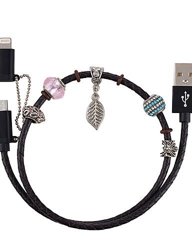 Mini USB / Micro USB / Φωτισμός Καλώδιο 0.5 Μ (1.5Ft) Πλεκτό / Πιστοποίηση των ΝΧΙ / 1 ως 2 Αλουμίνιο / Δερματίνη Προσαρμογέας καλωδίου USB Για Macbook / iPad / Samsung