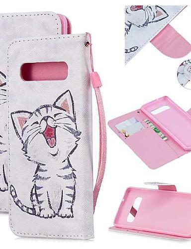 Capinha Para Samsung Galaxy S9 / S9 Plus / S8 Plus Carteira / Porta-Cartão / Antichoque Capa Proteção Completa Gato PU Leather
