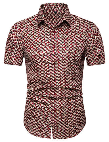 Bomull EU / USA størrelse Skjorte Herre - Geometrisk, Jacquard Grunnleggende Blå / Kortermet