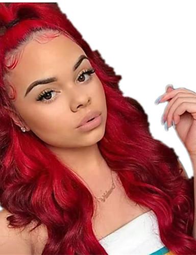 preiswerte Synthetische Perücken-Synthetische Lace Front Perücken Locken Mittelteil Spitzenfront Perücke Sehr lang Rot Synthetische Haare 22 Zoll Damen Damen Synthetik Rot Clytie