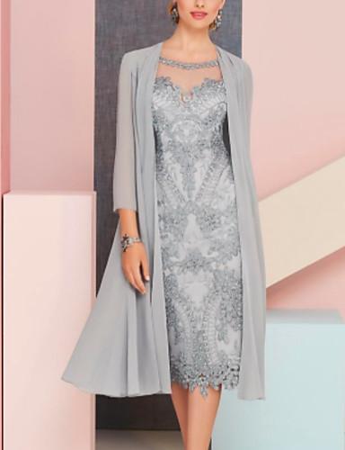 preiswerte Hochzeitsgast Kleider-Zweiteiler Brautmutterkleid Retro Sexy Übergröße Schmuck Tee-Länge Chiffon 3/4 Ärmel mit Spitze 2020