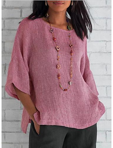 billige T-skjorter til damer-T-skjorte Dame - Ensfarget Rosa