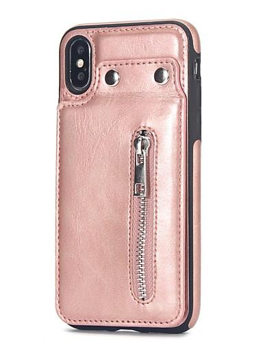 tilfelle for Apple iPhone 6s / iPhone xs max med stativ / kortholder bakdeksel solid farget hardt pu lær for iPhone 6s / iPhone 6s pluss / iphone 7