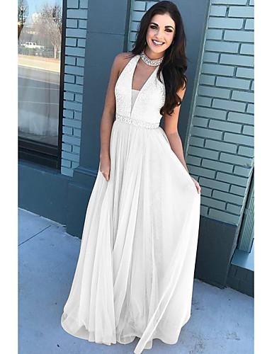 levne Maxi šaty-Dámské Šik ven Elegantní A Line Šaty - Jednobarevné, Volná záda Flitry Maxi