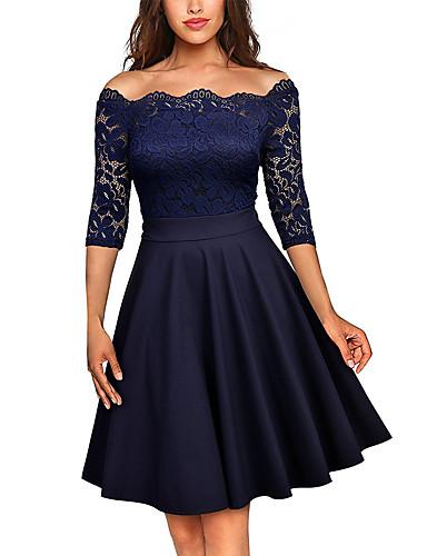 Mulheres Sofisticado balanço Vestido - Renda Com Corte Guarnição do laço, Sólido Altura dos Joelhos
