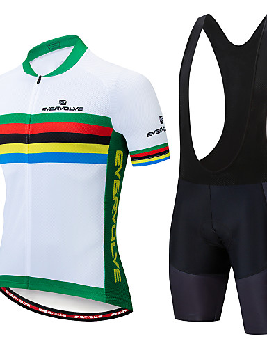 cheap Cycling-EVERVOLVE Men's Short Sleeve Cycling Jersey with Bib Shorts Summer Lycra White Black Rainbow Bike Clothing Suit Anatomic Design Quick Dry Moisture Wicking Breathable Back Pocket Sports Rainbow