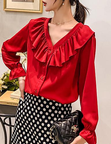 billige Skjorter til damer-V-hals Skjorte Dame - Ensfarget, Drapering / Lapper Grunnleggende Hvit