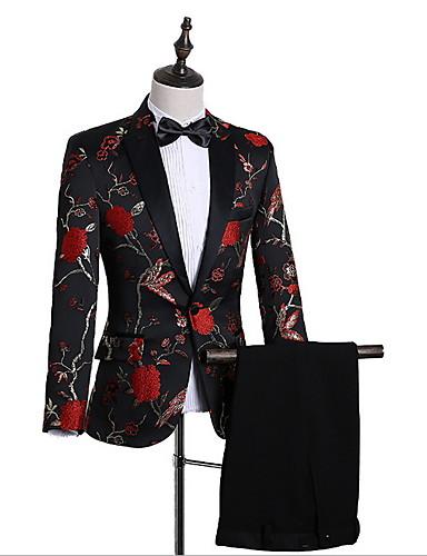 levne Pánské módní oblečení-Pánské EU / US velikost Obleky Klasické klopy Akryl Trávová zelená / Černá / Rubínově červená