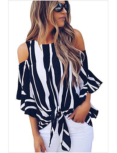 billige Skjorter til damer-Skjorte Dame - Stripet, Blondér Grunnleggende Rød