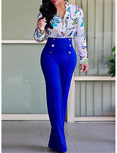 Жен. Уличный стиль Клеш ниже колена Брюки - Однотонный Черный Пурпурный Винный L XL XXL