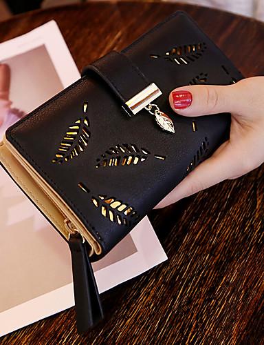 preiswerte Elegante Taschen für Damen-Dongguan pby_00m62018 Lange Mode Clutch Hollow Leaf Zipper Buckle Wallet Schwarz