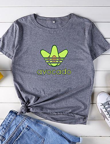 billige T-skjorter til damer-Bomull Løstsittende T-skjorte Dame - Dyr / Tegneserie / Bokstaver, Trykt mønster Grunnleggende Lilla