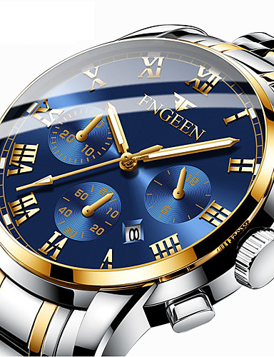 cheap Steel Band Watches-Men's Dress Watch Quartz Formal Style Modern Style Stainless Steel Black / Silver / Gold 30 m Calendar / date / day Noctilucent Analog Luxury Fashion - Golden+Silver Black / Blue black / gold One