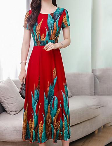 levne Maxi šaty-Dámské Základní Volné A Line Šaty - Geometrický Maxi