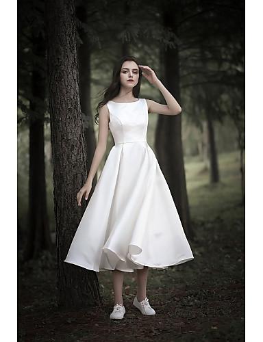cheap Wedding Dresses-A-Line Jewel Neck Tea Length Chiffon Over Satin Cap Sleeve Simple / Casual Little White Dress Wedding Dresses with 2020