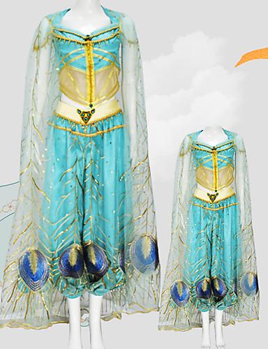 povoljno Maske i kostimi-Aladdin Princess Jasmine Cosplay Nošnje Djevojčice Filmski Cosplay Mesh Mini ja Plava Top Hlače Shawl Dječji dan Maškare Til / Bez rukava