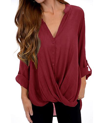 billige Topper til damer-Løstsittende Skjorte Dame - Ensfarget, Kryss Elegant / overdrevet Rød