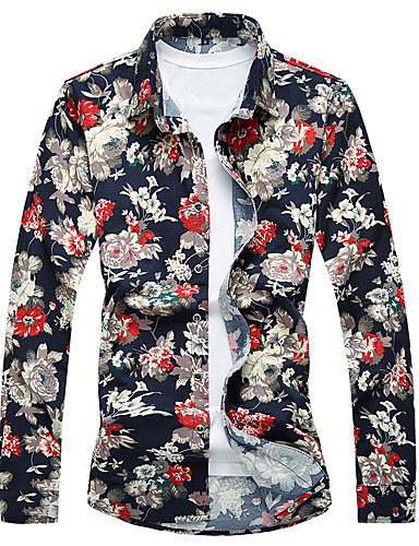 Skjorte Herre - Blomstret Chinoiserie Navyblå