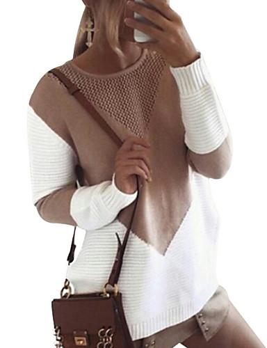 billige Mønstrede gensere-Dame Geometrisk Langermet Pullover Genserjumper, Rund hals Svart / Grå / Kakifarget S / M / L