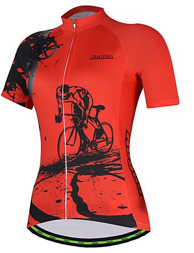 povoljno Odjeća za vožnju biciklom-21Grams Gear Žene Kratkih rukava Biciklistička majica - Crvena Pink Bicikl Biciklistička majica Majice Prozračnost Ovlaživanje Quick dry Sportski Terilen Brdski biciklizam Odjeća / Mikroelastično
