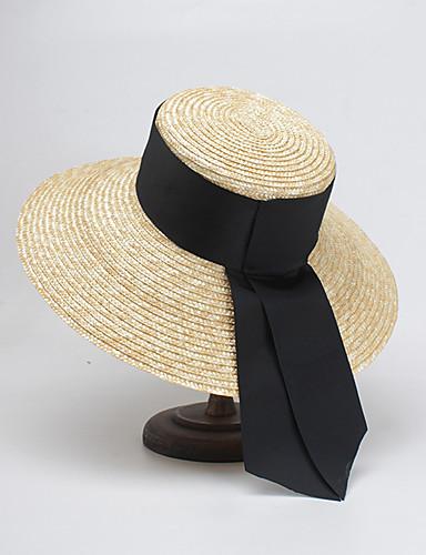 Strå Hatter med Solid 1 Deler Avslappet / Dagligdagstøy Hodeplagg