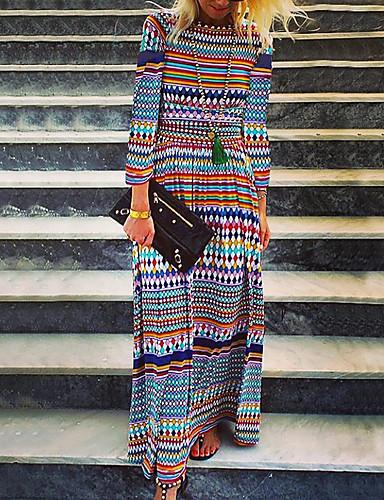 Mulheres Boho Moda de Rua Solto Reto Vestido - Estampado, Geométrica Longo