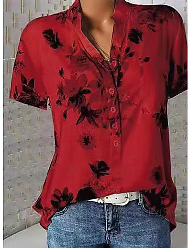 billige Skjorter til damer-V-hals Skjorte Dame - Blomstret, Blomster / Trykt mønster Hvit / Vår / Sommer / Høst