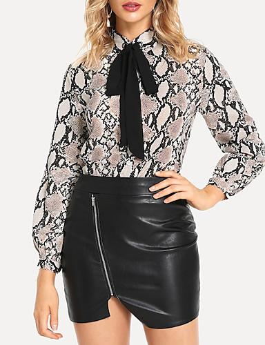billige Skjorter til damer-Skjortekrage Skjorte Dame - Slangemønster, Blondér Vintage Grå