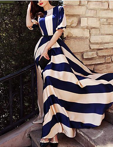 levne Maxi šaty-Dámské Dovolená Elegantní Swing Šaty - Proužky, Tisk Maxi modrá & bílá