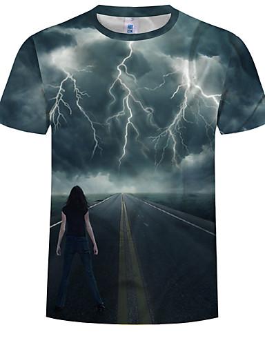Ανδρικά Μέγεθος EU / US T-shirt Συνδυασμός Χρωμάτων / 3D / Κινούμενα σχέδια Στρογγυλή Λαιμόκοψη Στάμπα Βαθυγάλαζο / Κοντομάνικο