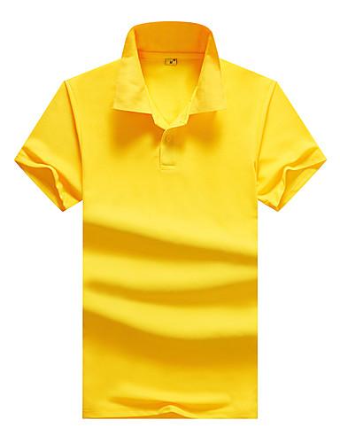 voordelige Herenpolo's-Heren Zakelijk EU / VS maat - Polo Katoen Effen Overhemdkraag Grijs / Korte mouw