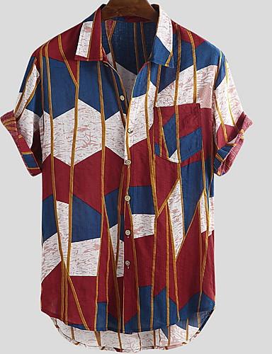 voordelige Heren T-shirts & tanktops-Heren Rock Patchwork EU / VS maat - Overhemd Regenboog Buttondown boord Geel / Korte mouw