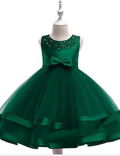 Πριγκίπισσα Μέχρι το γόνατο Φόρεμα για Κοριτσάκι Λουλουδιών - Βαμβάκι / Τούλι Αμάνικο Με Κόσμημα με Που καλύπτει / Λεπτομέρεια με πέρλα