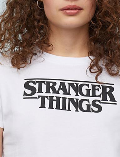 billige Dametopper-T-skjorte Dame - Bokstaver, Trykt mønster Hvit