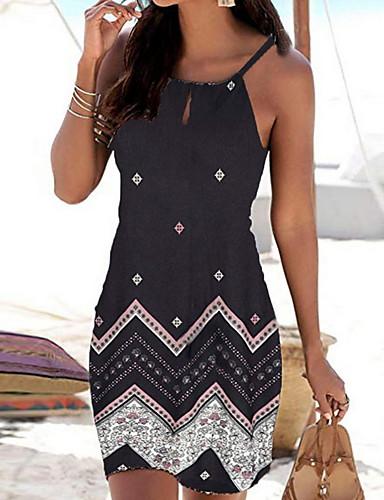 cheap Print Dresses-Women's Strap Dress Short Mini Dress - Sleeveless Geometric Print Summer Boho Holiday Vacation Beach 2020 White Black Red Blue S M L XL
