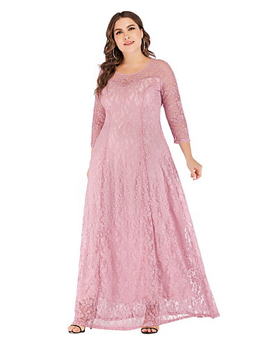 cheap Plus Size Dresses-Women's A-Line Dress Maxi long Dress - 3/4 Length Sleeve Solid Colored Lace Lace White Black Red Blushing Pink XL XXL XXXL XXXXL XXXXXL XXXXXXL