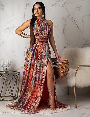 Mulheres Básico Reto Vestido - Estampado, Geométrica Longo