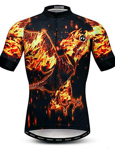 cheap Cycling-21Grams Men's Short Sleeve Cycling Jersey Summer Elastane Lycra Polyester Black 3D Animal Bike Jersey Top Mountain Bike MTB Road Bike Cycling Quick Dry Moisture Wicking Breathable Sports Clothing