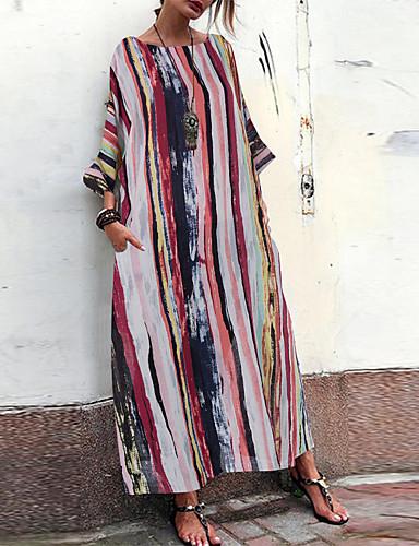 levne Maxi šaty-Dámské Šik ven Elegantní A Line Tunika Swing Šaty - Geometrický Barevné bloky, Tisk Délka ke kolenům