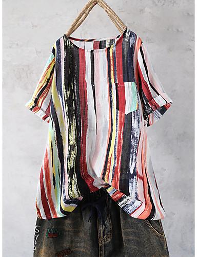 billige Skjorter til damer-Bomull Løstsittende Skjorte Dame - Ensfarget, Trykt mønster Bohem / Chinoiserie Strand Blå