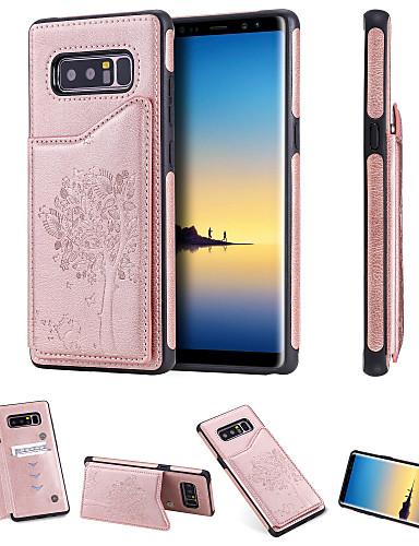 Etui Til Samsung Galaxy Note 9 / Note 8 Kortholder / Støtsikker / med stativ Bakdeksel Katt / Tre Hard PU Leather